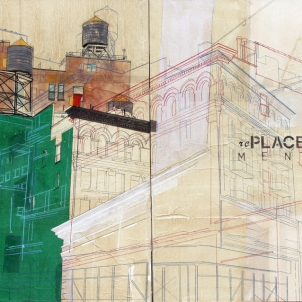 Urban Identities # 22 mixed media and rice paper on canvas, 2 panels, overall size 121 x 76 cm